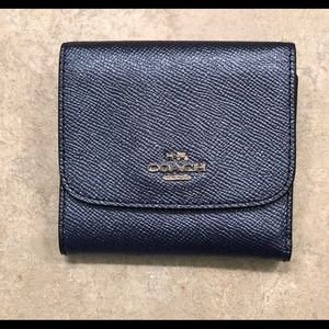 NWT Coach Navy Metallic Wallet